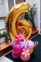 """№ 3.05. Воздушный шар """"цифра на подиуме"""" - 490р.. Высота 130-140см., цвет шаров и цифры любой!"""