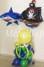 № Осьминог из шаров - 500р., фольгированные корабль и акула по 300р.\шт.