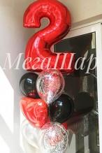 № 3.22.    1444р - Фонтан из 6-и шаров красно-черных с обработкой, два шарика с конфетти, сердечко и цифра.