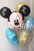 №10.17. Фонтан из воздушных шаров: два шарика с конфетти, два шарика металл, звезда и минни. Стоимость с обработкой - 970р.