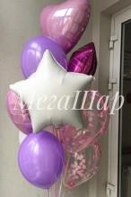 №10.89. Фонтан из трех шаров пастель, 4-х фольгированных шаров и двух шариков с конфетти. Стоимость с обработкой - 1028р.