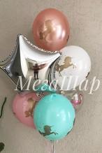 №10.29. Фонтан из воздушных шаров: пять шариков с рисунком и звезда. Стоимость с обработкой 490р., без обработки 440р.