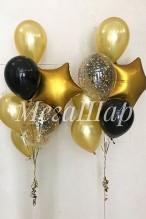 №10.67. Фонтан из воздушных шаров: 5 шаров металл, шар с конфетти и звезда. Стоимость с обработкой - 560р.