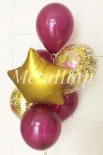 №10.66. Фонтан из воздушных шаров: 4 шарика пастель, два с конфетти и звезда. Стоимость с обработкой - 574р.