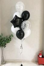 № 10.42. Фонтан из воздушных шаров: 6 шаров пастель, два с конфетти и звезда. Стоимость с обработкой  - 686р., без обработки - 626р.