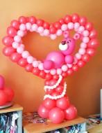 №2.22 Каркасное сердце из воздушных шаров с мишкой, стоимость - 1500 руб.