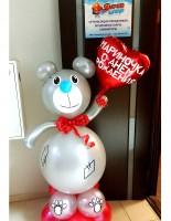 №14.32 Мишка, высота 1.6 метра - 1500р., сердечко гелиевое 150р., надпись - 50 руб.\слово.