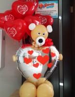 №14.26 Мишка с сердцем - 700р., гелиевые сердечки от 80 руб.\шт.