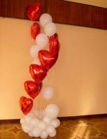 №14.17 Фонтан из 7-и сердец и 7-и гелиевых шаров с обработкой на круглой подставке - 1614р.