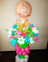 №15.09 Букет на выписку из 15 цветов с малышом - 1190 руб.