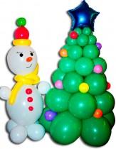 №9.08 Ёлка из воздушных шаров  - 550 руб./метр., снеговик - 350 рублей