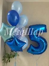 № 3.31. Гелиевая цифра 690р.\шт. Фонтан из воздушных шаров: шесть шаров пастель, один с конфетти и две звезды. Стоимость фонтана с обработкой - 824р.
