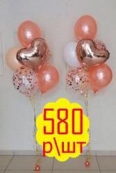 фонтан из гелиевых шаров - 580р.: три шарика металл, два с конфетти и сердце.