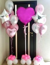 №5.33. Фонтан из 3-х шаров с звездочкой и сердечком, на подставке - стоимость фонтана с обработкой 476р. Сердце большое на подставке - 450р
