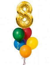 №12.03. 1034р - гелиевая цифра и шесть гелиевых шаров пастель с обработкой.
