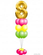 №12.30. 1276р - фонтан из 9-и гелиевых шаров пастель с обработкой, с цифрой и на подставке.