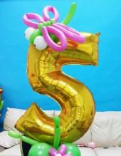"""№ 3.30. Воздушный шар """"цифра на подиуме"""" - 490р.. Высота 130-140см., цвет шаров и цифры любой!"""