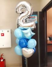 №10.41. Фонтан из воздушных шаров: 7 шаров пастель, сердечко и звезда фольгированные, цифра. Стоимость с обработкой 1332р., без обработки 1262р.