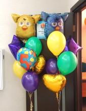 """№ 3.37. Фонтан из воздушных шаров: три цветных шарика, цифра, звезда, сердце и """"Ферби"""". Стоимость с обработкой - 1032р."""
