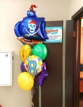 №10.44. Фонтан из воздушных шаров: три шарика пастель, сердечко, звездочка, цифра, корабль. Стоимость с обработкой 1008р.