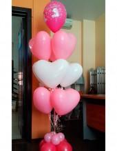 """№10.96. Фонтан из 9-и сердец с шариком """"С днем рождения"""" и на подставке. Стоимость с обработкой - 874р., без обработки - 774р."""