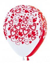 """№5.07. Гелиевый шар """"Кокетливые сердечки"""". Цвета - белый и красный, пастель. Стоимость гелиевого шарика без обработки - 45 руб., с обработкой - 50 руб."""