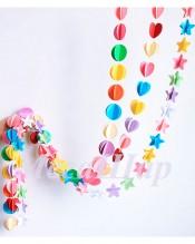 №10.12. Бумажная гирлянда для шаров (однотонная и цветная, цвет на выбор). Длина 2.2 метра, стоимость 170р.