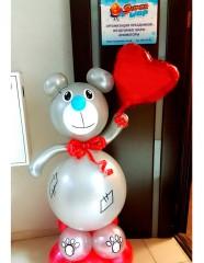 №12.61. Мишка из шаров, высота 1.6 метра - 1500р.