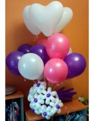 №14.25. 1275р - 10 шаров пастель, три сердца и букет из 7-и цветов.