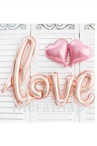 """Надпись """"love"""", размер 67 на 104 см., наполняется воздухом. цвета розовое золото и красный. Стоимость - 290р."""