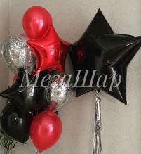 №10.30. Фонтан из воздушных шаров: 4 шарика пастель, два шарика с конфетти и две звезды. Стоимость с обработкой 744р., без обработки 704 р.