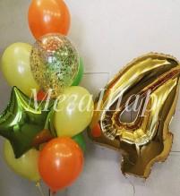 №10.82. Фонтан из воздушных шаров: 8 шаров пастель, один шар с конфетти и звезда. Стоимость с обработкой - 708р. Гелиевая цифра 600р.