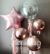 №7.11. Гелиевый шар 3D сфера, металлик, цвета: золото, серебро, красный, белый, розовое золото, синий. Стоимость - 800р.