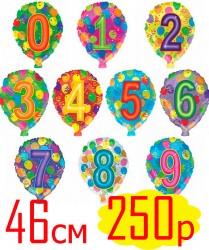 Гелиевый шар с цифрой, 46см - 250р.