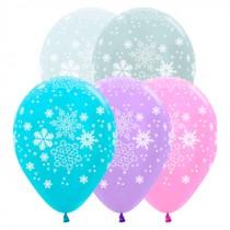 """№9.33 Гелиевый шар """"Снежинки"""". Стоимость шарика с обработкой 50 руб./шт., без обработки 45 руб./шт."""