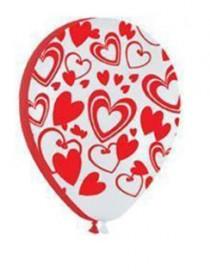 """№10.301 Воздушный шар """"Кокетливые сердечки"""". Цвета -  белый и красный, пастель. Стоимость гелиевого шарика без обработки - 64 руб., с обработкой - 74 руб."""