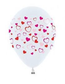 """№10.305 Воздушный шар """"Сердца слоеные"""", пастель. Стоимость гелиевого шарика без обработки - 64 руб., с обработкой - 74 руб."""