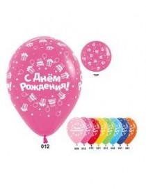 """№10.112 """"С Днем Рождения"""" (торты вокруг), ассорти пастель. Стоимость гелиевого шарика без обработки - 45 руб., с обработкой - 50 руб."""