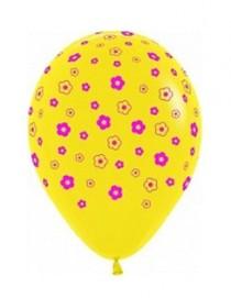"""№10.211 Воздушный шар """"Цветы"""", пастель, желтый. Стоимость гелиевого шарика с обработкой - 45 руб., без обработки - 40 руб."""