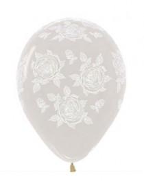 """№10.216 Воздушный шар """"Элегантная роза"""", прозрачный кристалл. Стоимость гелиевого шарика с обработкой - 45 руб., без обработки - 40 руб."""