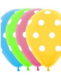 """№10.217 Воздушный шар """"Белый горох"""", ассорти, пастель. Стоимость гелиевого шарика с обработкой - 45 руб., без обработки - 40 руб."""