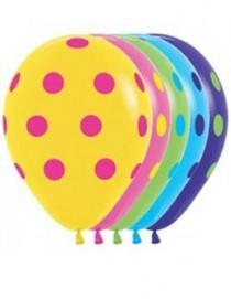 """№10.218 Воздушный шар """"Цветной горох"""", ассорти, пастель. Стоимость гелиевого шарика с обработкой - 45 руб., без обработки - 40 руб."""