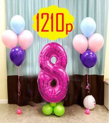 №12.28. Стоимость 1210р., включено: два фонтана по 5 гелиевых шаров с обработкой и цифра на подставке. Цвет любой.