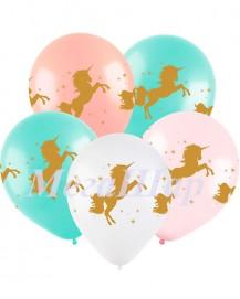 """№ 10.306. Воздушный шар """"Единорог"""" (нежно-розовый, белый, персик, бирюзовый). Стоимость с обработкой 74р., без обработки 64р."""