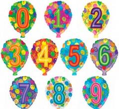 """№ 3.01. Воздушный шар """"цифра"""" с гелием 46 см., стоимость - 200 р."""