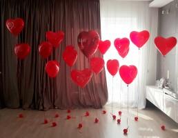 №14.30 Гелиевые сердца от 50 руб.\шт., большое фольгированное сердце - 400 руб.