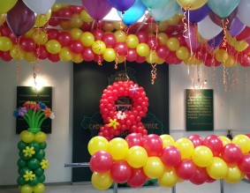 №12.66.  Цифра из шаров - 750 руб., арка - от 250 руб./м., гелиевые шары от 54 руб., клумба с цветами 9шт. - 800р.