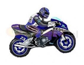 """№7.52. Воздушный шар """"Мотоциклист"""", цвета: синий и красный; размер 83 см., стоимость 300р."""