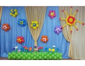 №6.06 Стоимость композиции - 2510р., включено: цветы на стену 8шт., полянка 3 метра с цветами 17шт., солнышко 1 шт.