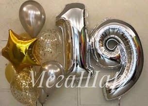 №10.47. Фонтан из воздушных шаров: 5 шаров металл, два шарика с конфетти и звезда. Стоимость с обработкой - 650р. Цифры гелиевые по 600р.